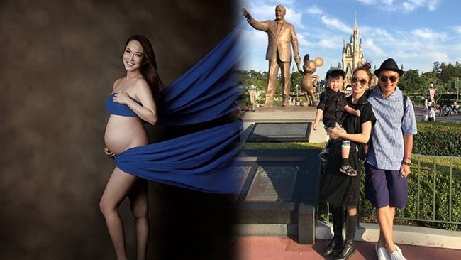 Fann Wong during her pregnancy
