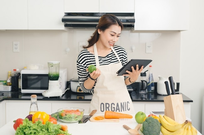 Woman preparing healthy dish